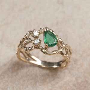 14k yellow gold emerald and diamondsA4-112