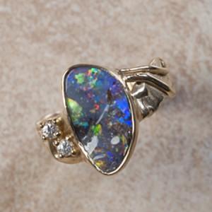 14k yellow gold boulder opal and diamondA6-126