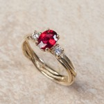 14k yellow gold red spinel and diamonds B6-109