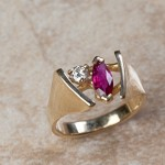 14k yellow gold ruby and diamond B6-165