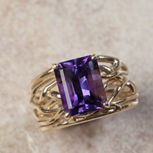14k yellow gold amethyst B6-166