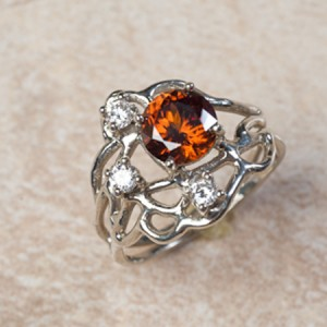 18k white gold cognac zircon and diamondsC0-34