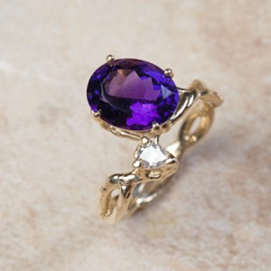 14k yellow gold amethyst and diamondC7-76