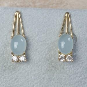 18k yellow gold aquamarine and diamonds C-86