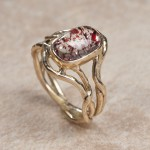 14k yellow gold fire quartzC8-66