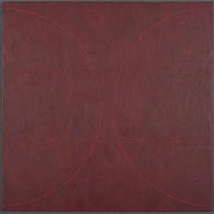 """Red Squaresencaustic canvas24x24"""""""