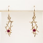 14k Yellow Gold Ruby Earings c3-86