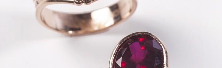 Custom Wedding Ring Set 14kt Chatham® Rubies