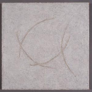 "Origami XXVpigment stick, cold wax medium, acrylic14x14"" 2015"
